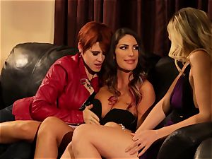 August Ames and Lily Cade string on bed fuckfest
