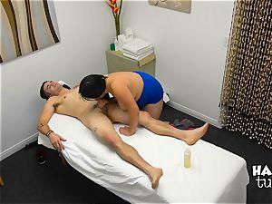 Hidden camera massage bed intercourse