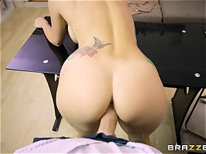 Mature tattooed assistant Monique Alexander with ample bumpers seduces her manager and deep throats his jizz-shotgun