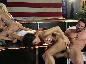 Asa Akira and Bridgette B give a off the hook flash
