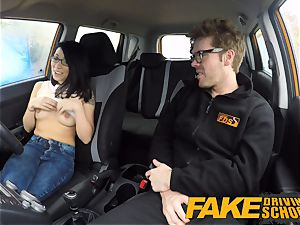 faux Driving school half asian tiny college girl porks