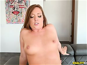 jizm guzzling man sausage dicksucker Maddy OReilly sits her beaver on a huge penis