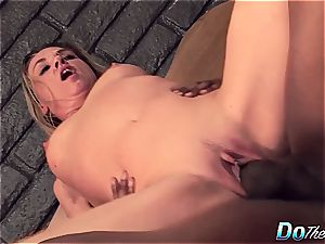 Housewife mega-bitch gets her poon demolished in front of her husband by a big black cock