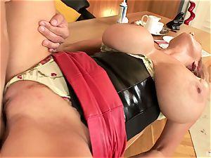 Redheaded milf with giant boobs Sharon pinkish