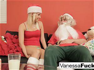 Vanessa letting Santa poke her taut humid gash