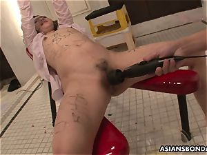 asian honey gets drenched in piss while being plumbed