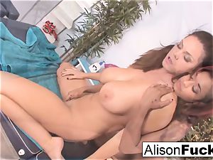 sumptuous skin uses her fingers and jaws to rubdown Alison