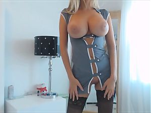 unbelievable milf in Uniform With huge boobies Plays with her faux-cock