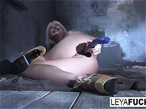Leya Falcon plunges intercourse toys in both her crevices