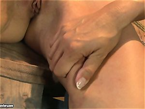 Mandy Bright bind a scorching stunner with cable on the table