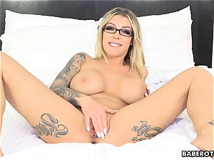 crazy Karma RX toys her bootie with a faux-cock solo