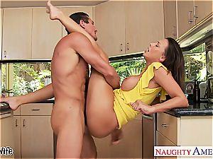 dark haired wife Rachel Starr taking boner in kitchen