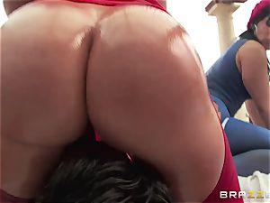 rectal romp with three mischievous massive butt supersluts Krissy Lynn, Nikki Delano and Rose Monroe
