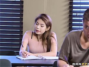 chubby ultra-cutie with natural tits seduces her classmate during the exam
