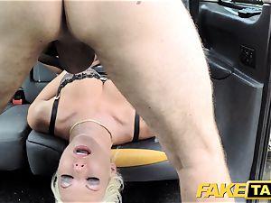 faux cab Deep jaws choking milf gets backseat facial cumshot