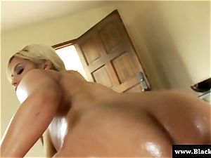 Oily Bridgette B backside bbc poked in this HD video
