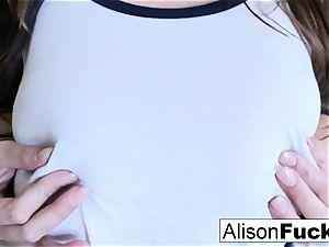 immense bap Alison touches her immense bra-stuffers