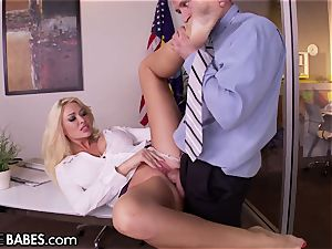 big bumpers Office cougar Uses feet to punish worker
