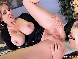 manager Julia ann romps her beautiful assistant Olivia Austin