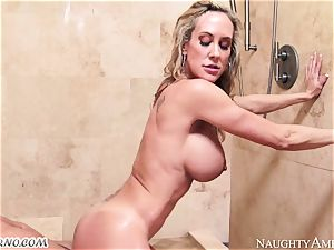 busty cougar Brandi love with thick boobs seduces her stepson in the douche