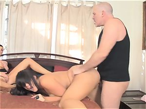 Pretty milf India Summers and Alison Tyler penetrated in the smallish pussyhole