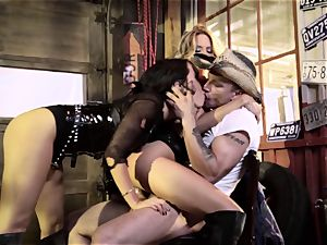 Jessica Drake and Asa Akira dunked by the same man-meat