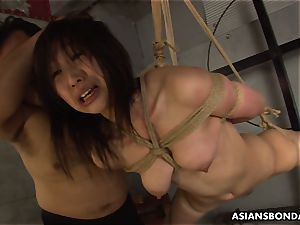roped up to a strap and sucking on the fellas