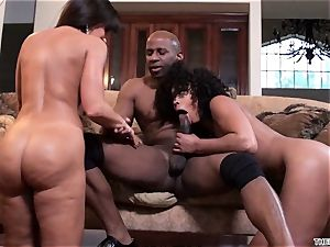 Lisa Ann and Misty Stone spit over this rock-hard schlong