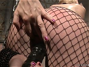 Katy Borman fettered ash-blonde tear up with dildo in the backside