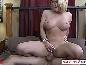 huge-chested towheaded Krissy Lynn drilling