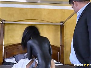 tough in rubber Romi Rain gets pounded by three steaming jizz-shotguns