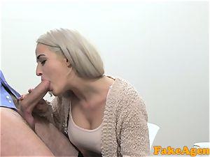 faux Agent molten blonde model enjoys bone over the desk