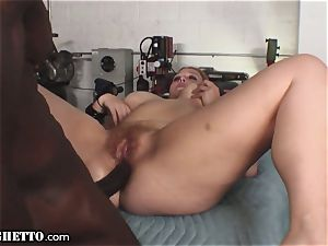 large white ginger-haired mouths and Titfucks bbc in Garage