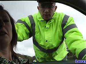 Caught milking mature pummels patrol cop
