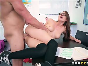 Impudent tutor drills his unruly pupil Aidra Fox during the test
