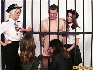 CFNM police female dominance jerking off prisoner