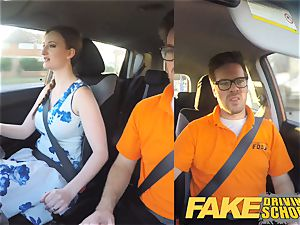 faux Driving college Nerdy red-haired teenage schoolgirl