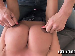 ginormous melon playtime with Ariella Ferrera and Deauxma