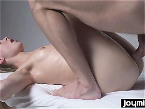 Joymii super-fucking-hot blonde gets glazed in jizm after her rubdown