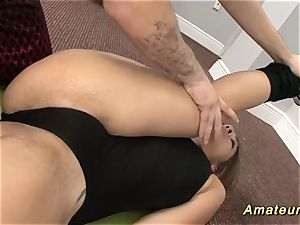 nubile gymnast gets opened up by her trainer