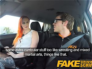 faux Driving school fantastic redhead lusts after large fuckpole