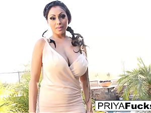 Backyard solo with Indian pornographic star Priya Rai