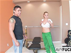 Avy Scott gets a romping with her exercise routine