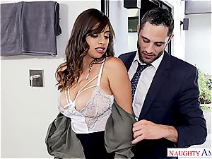 Latina office cockslut takes a flow on her meaty jugs
