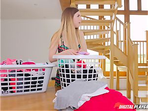 cooch fumbling super-cute Eva Lovia and Stella Cox messing in the laundry