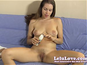 She strips down encourages u to stroke with faux-cock demo