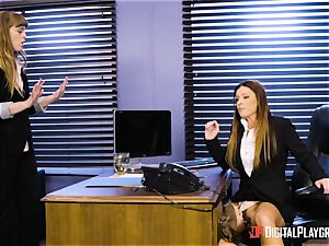India Summers and Sunny Lane vagina tribbing activity in the office
