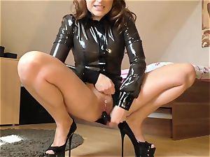 spandex girl jacking on webcam