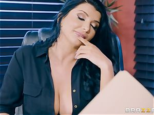nasty black-haired mummy Romi Rain rammed in the donk in the office