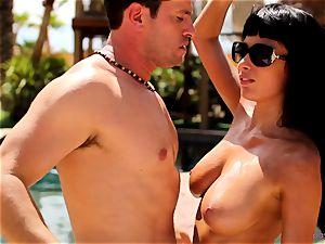 Anissa Kate unwrap her bikini to bang poolside